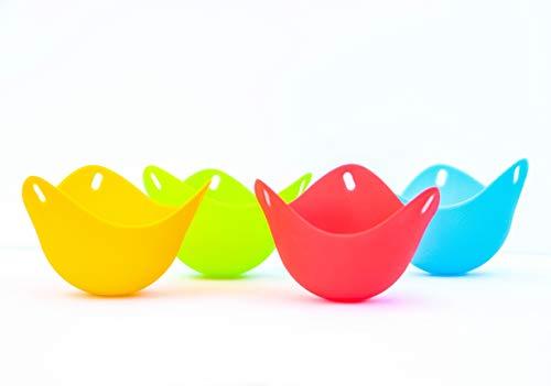Eierpochierbecher (4er Pack) für perfekt pochierte Eier - Pochierset Silikon Eierpochierer