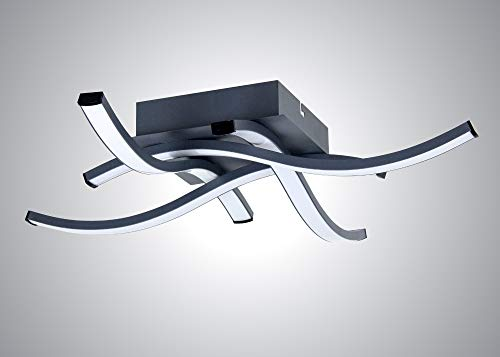Trango 4 llamas 4-step regulable 3132B Design LED plafón serie * WAVE * en negro antracita I moderno y chic en forma de onda Plafón con módulo LED 4x 5 vatios I 4x 500 lúmenes I 3000K blanco cálido