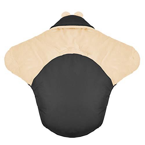 millybo Baby Einschlagdecke für Winter geeignet für Kinderwagen Babyschale Babybett Autositz Buggy (Nylon graphit - Minky cremefarben)