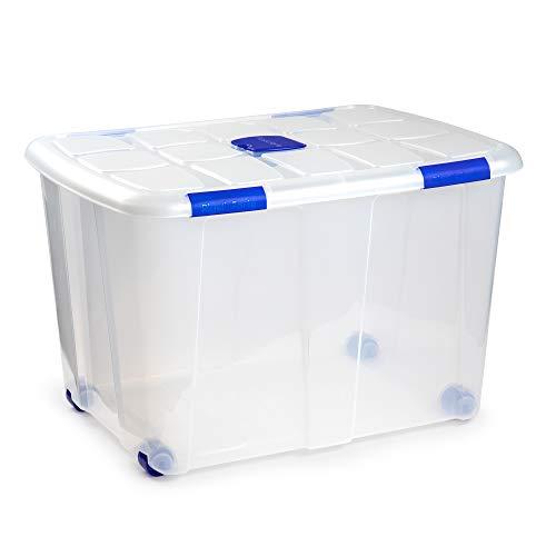 PLASTIC FORTE, Caja de almacenamiento, TRANSPARENTE, 130 litros, con ruedas