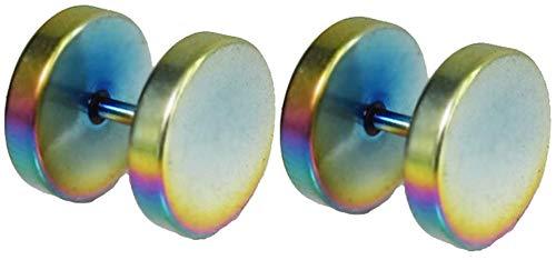 Outletissimo par de pendientes de acero titanio para hombre y mujer, falso dilatador Fake Plug, 10 mm, arco iris metalizado