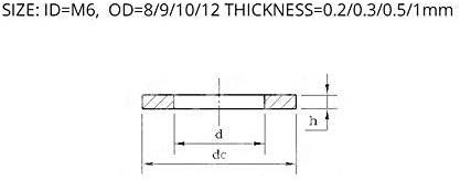 9//10//11//12 tama/ño: M6x10x0 Arandelas 100pcs-m/últiples especificaciones M68 16 FLEVE ARWER 0.2mm 0.3mm 0.5mm Acero inoxidable 304 Lavadora plana ultrafina Lavadora de ajuste de espacio de la junta