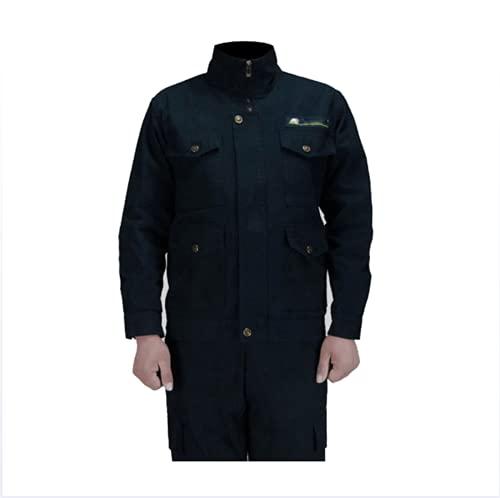 NHY Chaqueta de Trabajo, Abrigo de Soldadura, Traje de algodón Puro Fuego y Llama Top Retardante: 4 Bolsillos, Pantalones: 4 Bolsillos,Azul,M