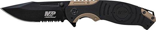 Smith & Wesson Unisex– Erwachsene, Klappmesser, Klingenlänge: 8.89 cm, M&P Linerlock, Gummierter Aluminium-Griff, schwarz, 21 cm