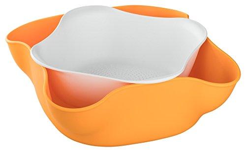 Obstkorb   Obstschale   Set besteht aus Schale und Abtropfsieb, Ideal für Früchte, Nüsse, Salat oder Bonbons (Orange)