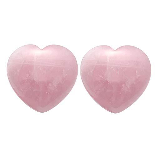 CrystalTears Handschmeichler Edelsteine Puffy Herz Rosenquarz Kristall Steinherz 45mm Healing Worry Stone (2pcs Rose Quartz Heart-1.77