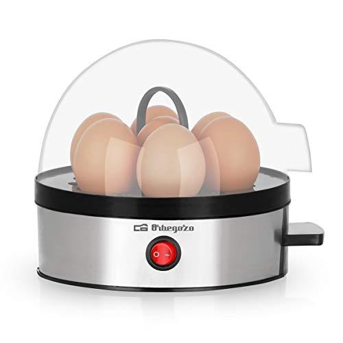 Orbegozo CU 5100 - Cocedor huevos, apagado automático, capacidad para 7 huevos, libre de BPA, carcasa de acero inoxidable, 350 W de potencia