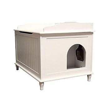 ZCY Kitty Boîte À Litière, Chat Toilettes Stockage Banc en Bois Enceinte Meubles Boîte Maison avec Table, avec Littéraire Et Tapis De Compagnie (Color : White)