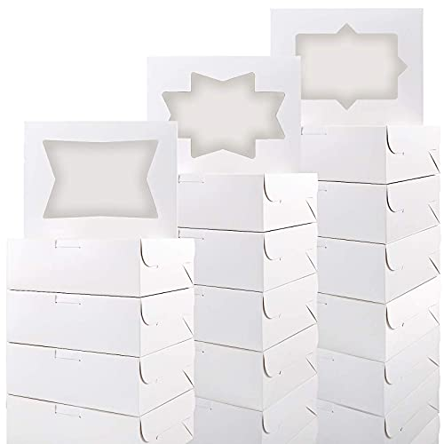 Moretoes 24pcs Cookie Boxes 8 Inch White Bakery Boxes Treat Boxes with Window for Donuts, Pastry, Muffin and Chocolate Covered Strawberry (8x6x2.5 in)