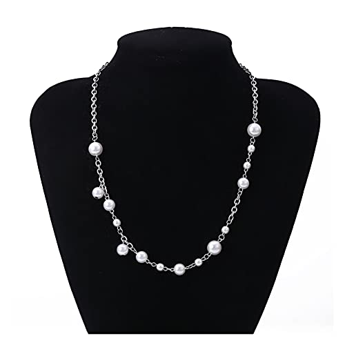 xilinshop Colgantes de Mujer Collar de Cristal Hueco de Gargantilla de Perla simulada para Mujeres Collares de Borla Larga joyería de Moda Collar Colgante (Metal Color : B)