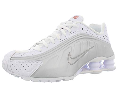 Nike Shox R4, Scarpe da Atletica Leggera Donna, Multicolore White/Metallic Silver/Max Orange 000, 40.5 EU