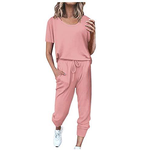 Bestyyo 2Pc Mujeres Pure Color Traje de Manga Corta Ocio Bolsillo Hogar Pantalones de chándal Conjuntos C11456 Rosa