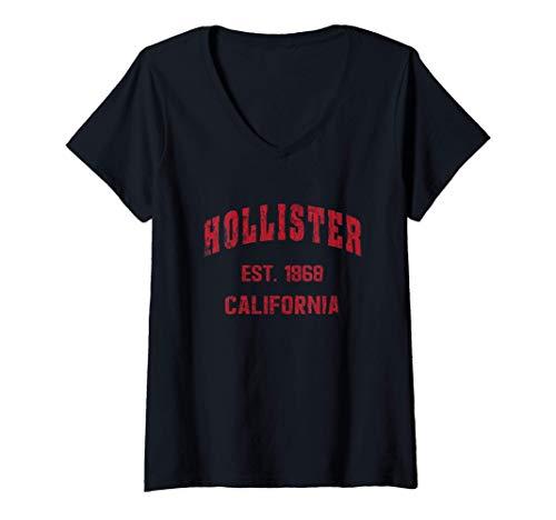 Mujer Hollister, California Home Souvenir . EST. 1868 . Red Camiseta Cuello V