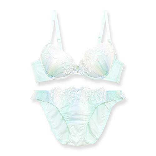 [フランデランジェリー] [fran de lingerie] Milky Gradation ミルキーガーデン ブラ&ショーツセット B65-G75カップ ミント B75