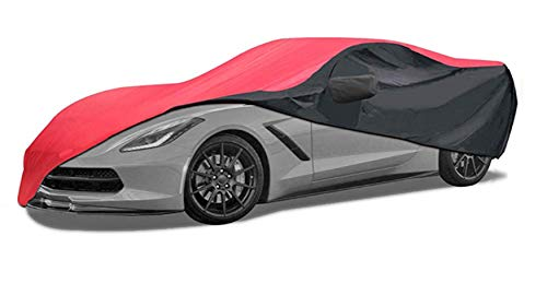Car Cover Fit for 2014-2019 C7 Stingray, Z51, Z06, Grand Sport Corvette Indoor/Outdoor Protection (Red/Black)