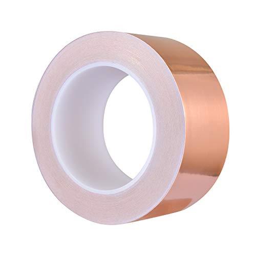 Zalava 50mm X 30M Kupferband Kupferfolienband EMI Kapton Tape Abschirmband Kupferfolie Kupferband Selbstklebend Klebeband Schneckenband Schneckenschutz (50mmX30M)