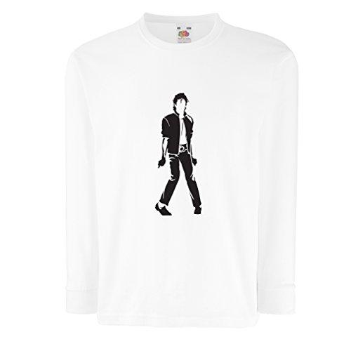 lepni.me Camiseta para Niño/Niña Me Encanta M J - Rey del Pop, 80s, 90s Músicamente Camisa, Ropa de Fiesta (9-11 Years Blanco Negro)