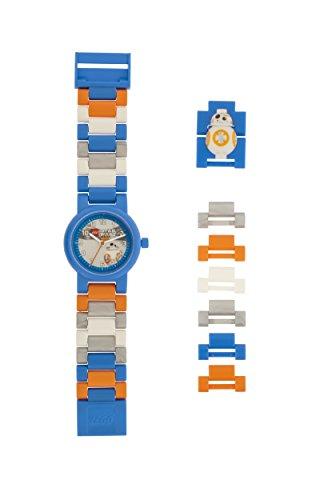 Reloj infantil modificable de LEGO Star Wars. Emblemática figurita de LEGO BB-8 en la pulsera.
