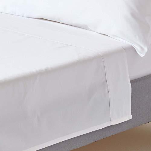 HOMESCAPES Drap Plat uni 100 % Coton égyptien Bio 400 Fils Coloris Blanc 178 x 255 cm