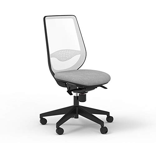 Silla de oficina con respaldo blanco y asiento gris (gris)