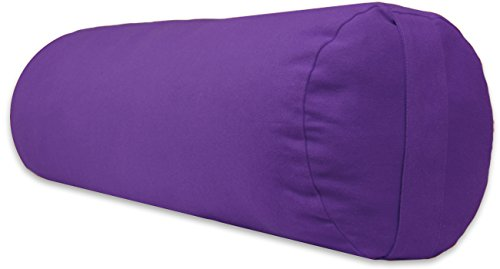 YogaAccessories Supportive Round Cotton Yoga Bolster - Purple