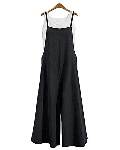 Mono Ancho Mujer Casual Peto Fiesta Pantalon Largo Negro M