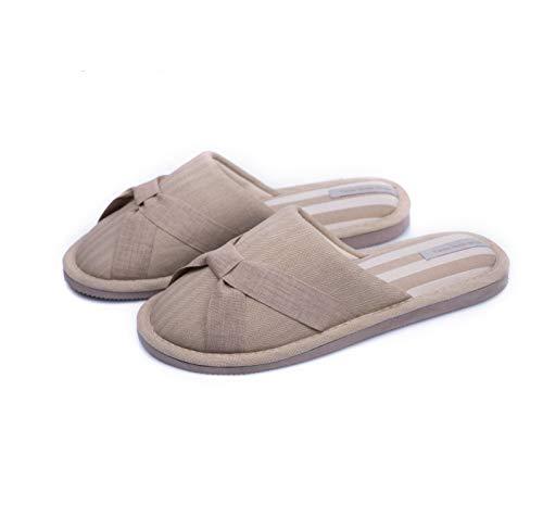 TWINS Fashion « Venice » Pantofole da casa Donna Eleganti Muli Ciabatte Calde da Interno comode Babbucce Leggere Suole Antiscivolo Senza Rumore - Beige 40