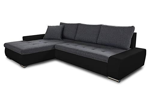 Ecksofa mit Schlaffunktion Faris - Couch mit Bettkasten, Big Sofa, Sofagarnitur, Couchgarniitur, Polsterecke, Bett (Schwarz + Graphit (Madryt 1100 + Inari 94), Ecksofa Links)