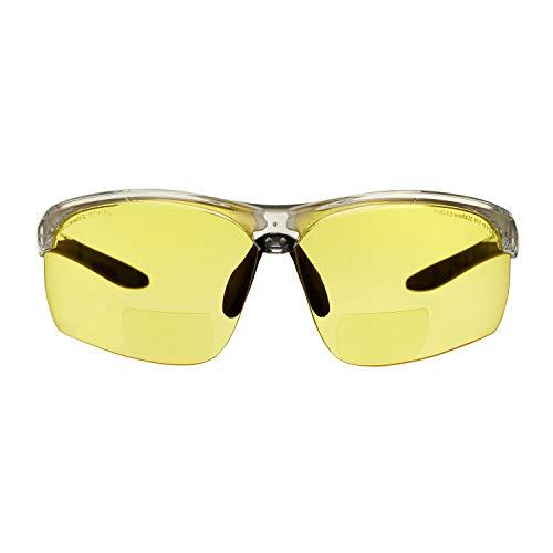 Gafas bifocales de seguridad para lectura voltX 'CONSTRUCTOR ULTIMATE' (montura transparente, lentes amarillas Dioptría +1.5) CE EN166FT - Bifocales Ciclismo Deportivo - UV400