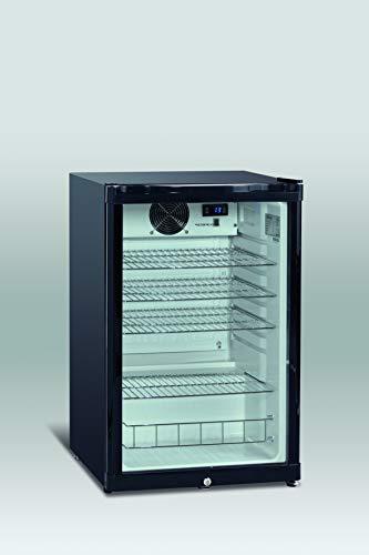 Scandomestic DKS 142- Minibar, Nevera pequeña para bebidas, 115 L de volumen, Funcionamiento silencioso, Puerta de cristal con cerradura, Iluminación LED