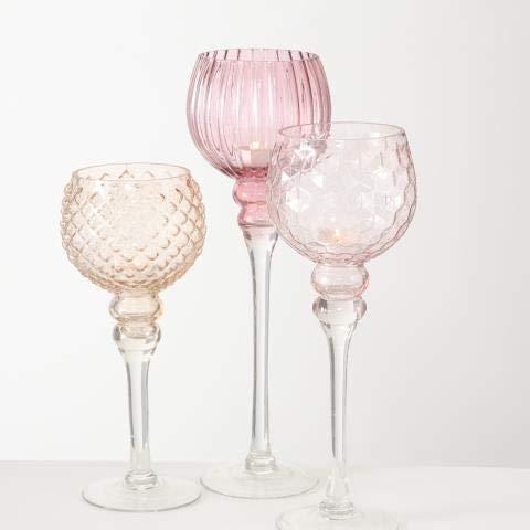 Windlicht Manou, 3 tlg., Set 3, H 30,00-40,00 cm, Glas