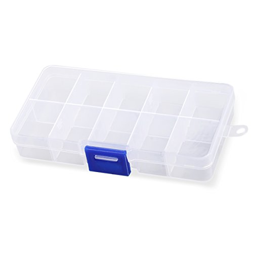 UEETEK 10-Grid Kunststoff verstellbare Schmuck Organizer Box Container Aufbewahrungskoffer mit abnehmbaren Trennwänden (Transparent)