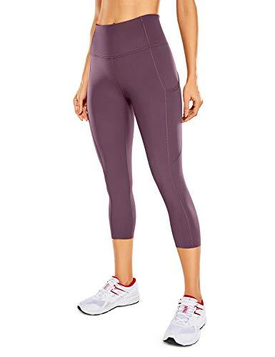 CRZ YOGA Mujer Cintura Alta Leggings Deportivas Fitness Running Pantalones Capri con Bolsillos -48cm Corteza Antigua 38