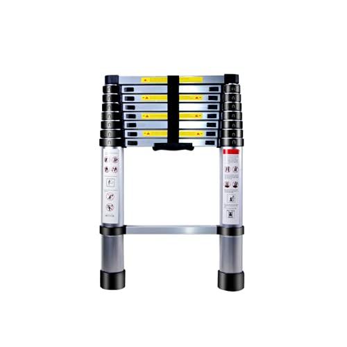 Escalera Telescópica de Aluminio , YABAG Escaleras Extensible Multifunción Portátil Escalera Ajustable con Escalones Antideslizante Carga Máxima 150 kg (2.6 M)