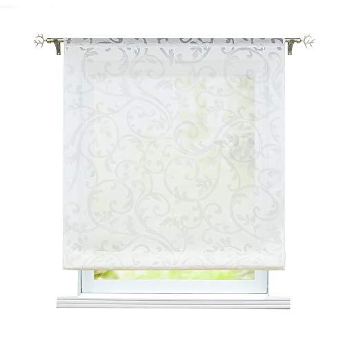 ESLIR Raffrollo Wohnzimmer Raffgardine mit Tunnelzug Gardinen Transparent Bändchenrollo Modern Vorhänge Ausbrenner Weiß BxH 100x155cm 1 Stück