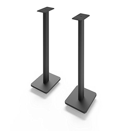 Kanto SP32PL 32' Speaker Floor Stands | Designed for Medium to Large Bookshelf Speakers | Heavy Steel & Foam Padding | 30° Rotating Top Plate | Hidden Cable Design | Black | Pair