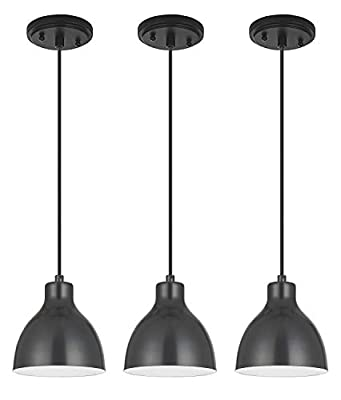 Led Industrial Hanging Light Indoor Mini Pendant Ceiling Light fixtures with Painting Black(Set of 3), Chandeliers Metal Shade for Bar Dining Room Corridor Living Room Kitchen Island
