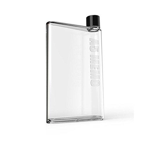 Zarupeng Wasserflasche, Klar Portable Trinkflasche Eco Friendly Kunststoff Sporttrinkflasche Trinkbecher Flach Getränke Tasse Wasserkocher (One Size, Weiß)