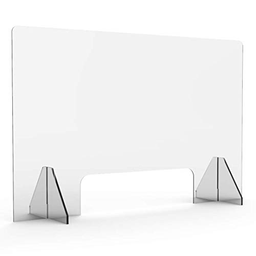 Acrylic Sneeze Guards by Consumer Hygiene - Office Plexiglass Barrier - Clear Plastic Shield for Cashier, Checkout, Countertop, Desk (31.5'Wx23.5'H 1/8')