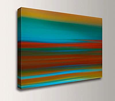 "Large Abstract Landscape Painting - Teal and Red Canvas Wall Art -""Sunset Strip"" by"
