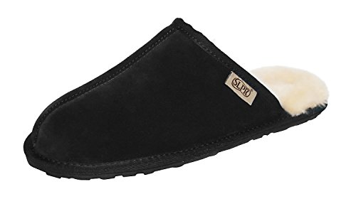 SLPR Men's Sheepskin Summit Slipper (12.5 UK, Black)