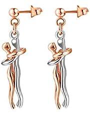 2 pezzi abbinati collana con ciondolo coppia, collana con ciondolo uomo donna, orecchini gioielli personalizzati, per regalo di San Valentino di Natale (oro , nero , rosa dorato , argento,Oro nero)