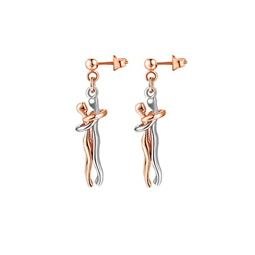2 piezas Collar de pareja con colgante,collar con colgante para hombre y mujer, pendientes de joyería personalizados, para regalo de San Valentín de Navidad(dorado, negro, dorado rosa, plateado)