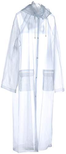 Com-four Wiederverwendbarer Regenmantel mit Abnehmbarer Kapuze - Regenschutz zu jeder Gelegenheit, Transparent, Gr.- XL