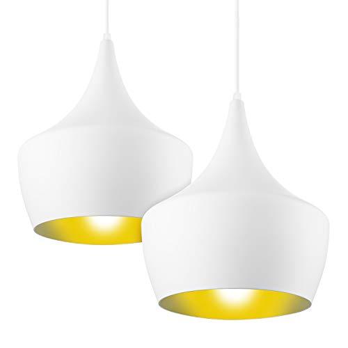 LSX Licht 2X Pendelleuchte Retro Vintage Hängeleuchte Hängelampe Metall Ø 22cm exkl. E27 max. 150W Leuchtmittel Weiß Matt, Metallschirm [Energieklasse A++]