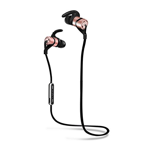 iVotre Wireless Sports Bluetooth Headphones for Running with HD Beats Sound Quality Mic, Noise Cancelling Stereo Sweatproof Earphones(Bluetooth 4.1, 6 Hours Run Time, Metallic Material) - Rose Gold