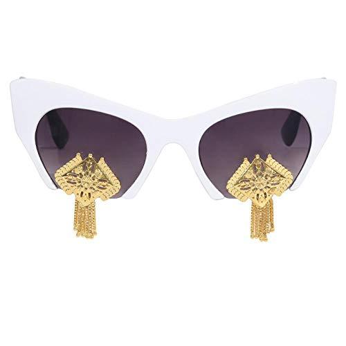 Sonnenbrille Herren Vintage Cat Eye Sonnenbrille Frauen Half Frame Einzigartige Metall Quaste Elegante Damen Brillen Shades Uv400 4