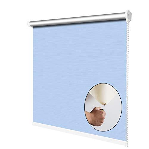 YJFENG Rollo, 100% Blackout Side-Pull Brandschutz Fenstertrennwände, Sonnenschutz Datenschutz, Für Badezimmer, Büro (Color : Blue-Light, Size : 90x210cm)