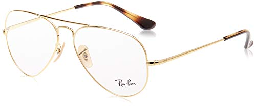 Ray-Ban RX6489 Metal Aviator Prescription Eyeglass Frames, Gold/Demo Lens, 58 mm