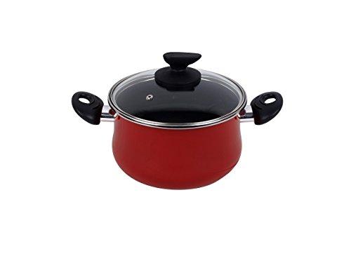 Magefesa Praga - Olla 24cm de acero vitrificado exterior rojo. Antiadherente bicapa reforzado, apta para todo tipo de cocinas, especial inducción. 50% de ahorro energético.